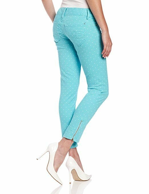 Lilly Pulitzer WORTH SKINNY MINI ZIP Jeans Shorely bluee Dot Pants 2 NWT