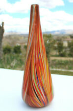 10 25 Flame Orange And Frosted White Milk Bottle Style Hand Blown Glass Vase For Sale Online Ebay