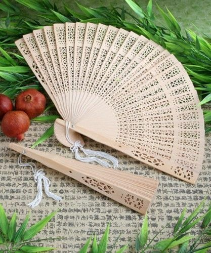 Scented Sandalwood Hand Fans Chinese Wooden Elegant Wedding Favour Gift