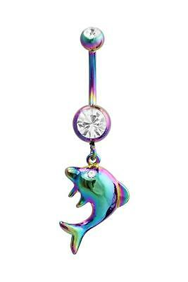 Dolphin Belly Ring Rainbow Clear Dangle Navel CZ Body Jewelry Animal Fun Sexy