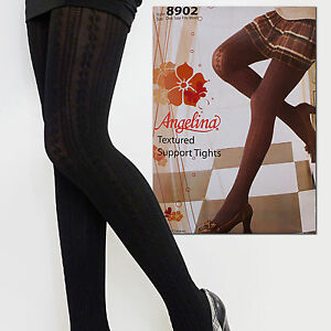 c891c88fb3d Image is loading Angelina-Women-Black-Opaque-Cable-Knit-Lace-Patterned-