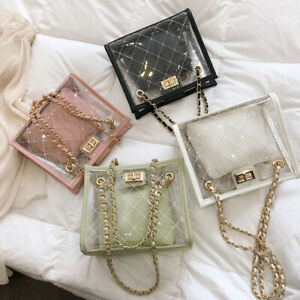 2-Pcs-Set-Clear-Quilted-PVC-Small-Single-Shoulder-Bag-Crossbody-Chain-Purse-Tote