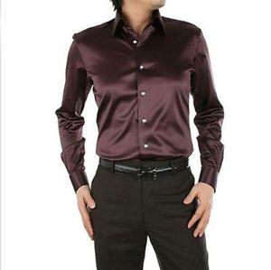 Brown-Men-039-s-Wedding-Shirts-Long-Sleeve-Silk-Satin-Slim-Prom-Groom-Men-039-s-Shirts
