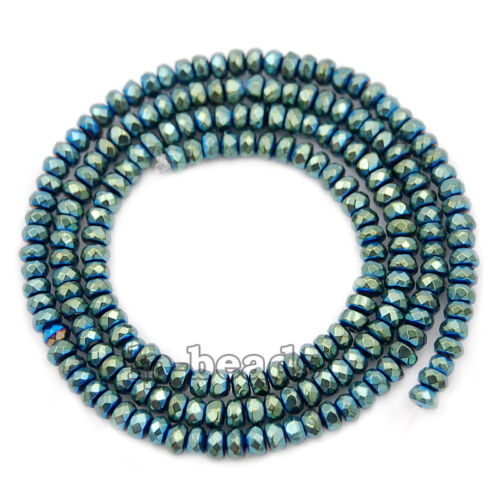 Green Hematite Rondelle Spacer Beads 16/'/' 2mm 3mm 4mm 6mm 8mm Smooth Faceted