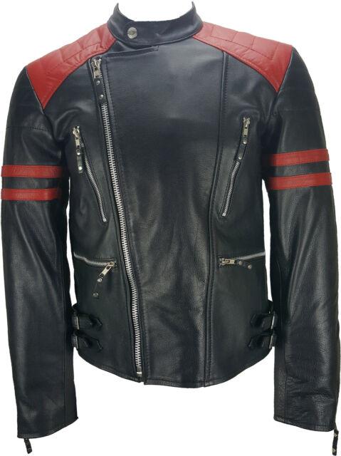 UNICORN Hommes Veste de Motard Classique - Cuir véritable - Noir & Rouge #JQ
