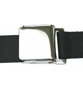 2-Point-Black-Lap-Seat-Belt-w-Airplane-Lift-Buckle-BLACK