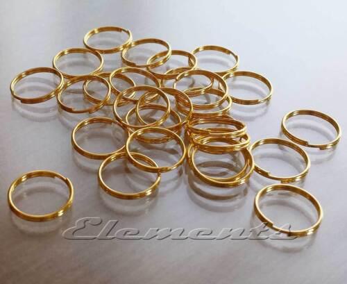 13 mm en acier de haute qualité split anneaux porte-clés nickel plaqué or