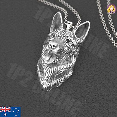 German Shepherd Dog Pendant Charm Jewelry Necklace 925 Silver Australia