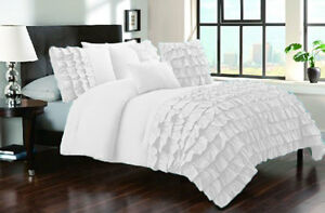 1000TC Waterfall Half Ruffle Duvet Cover Set 100% Egyptian Cotton All size color