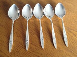 Oneida Community MORNING ROSE 1960 Silver Plate 4 Soup Spoons Flatware