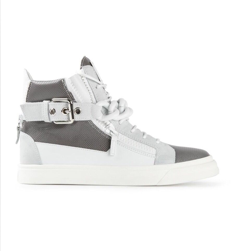 5d20fb833d939 ... New Giuseppe Zanotti Mixed Mixed Mixed Media White Gray Chain Buckle  Sneakers Sz. 41 ...