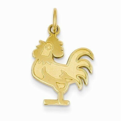 14K YELLOW gold  POLISHED ROOSTER   CHARM    PENDANT -  0.9  GRAM