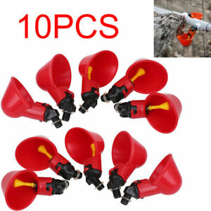 10PC-Poultry-Water-Drinking-Cups-Chicken-Hen-Plastic-Automatic-Drinker-USA-NEW