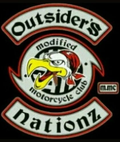 OUTSIDER/'S MODIFIED NATIONZ MOTORCYCLE CLUBEMBROIDERY BIKER PATCH