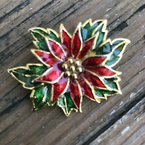 Vintage-Christmas-Poinsettia-Floral-Brooch-Red-Green-Gold-Holiday-Flower-Pin