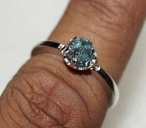 0-67CT-NATURAL-GREENISH-BLUE-ROUGH-UNCUT-RAW-DIAMOND-925-SILVER-WEDDING-RING-N-R