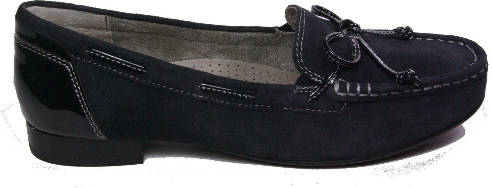 GABOR Schuhe Pumps Mokassin blau Nubuk echt Leder Nubuk blau Lack Weite G NEU 7469e9