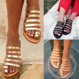 a1240286999 Women Ladies Summer Flat Heel Strap Slippers Beach Sandals Roman ...