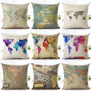 Vintage world map style pattern cushion cover cotton linen pillow image is loading vintage world map style pattern cushion cover cotton gumiabroncs Image collections