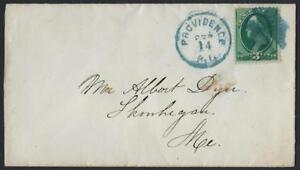 Ee. Uu. 1870s Providencia Ri Elegante Cancelado en Azul A Maine