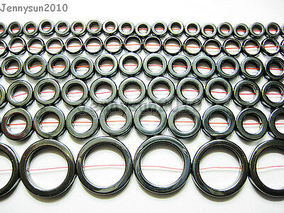 Natural Hematite Gemstone Round Ring Beads 16'' 8mm 10mm 12mm 14mm 16mm 27mm