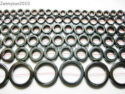 """Natural en bruto de hematites de piedras preciosas anillo redondo de granos de 16/"""" 8mm 10mm 12mm 14mm 16 Mm 27mm"""