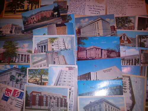200+ POSTCARDS JOB LOT USA POST OFFICES ILLUSTRATE SOME USA STAMPS