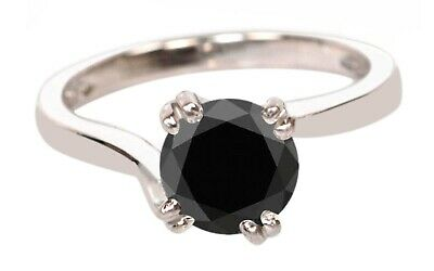 925 Sterling Silver Round Cut 1.25Ct Natural Black Diamond Women/'s Ring