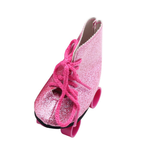 Cute Pink Wheel Roller Skates Shoes for 18/'/' AG American Doll Journey Doll ACCS
