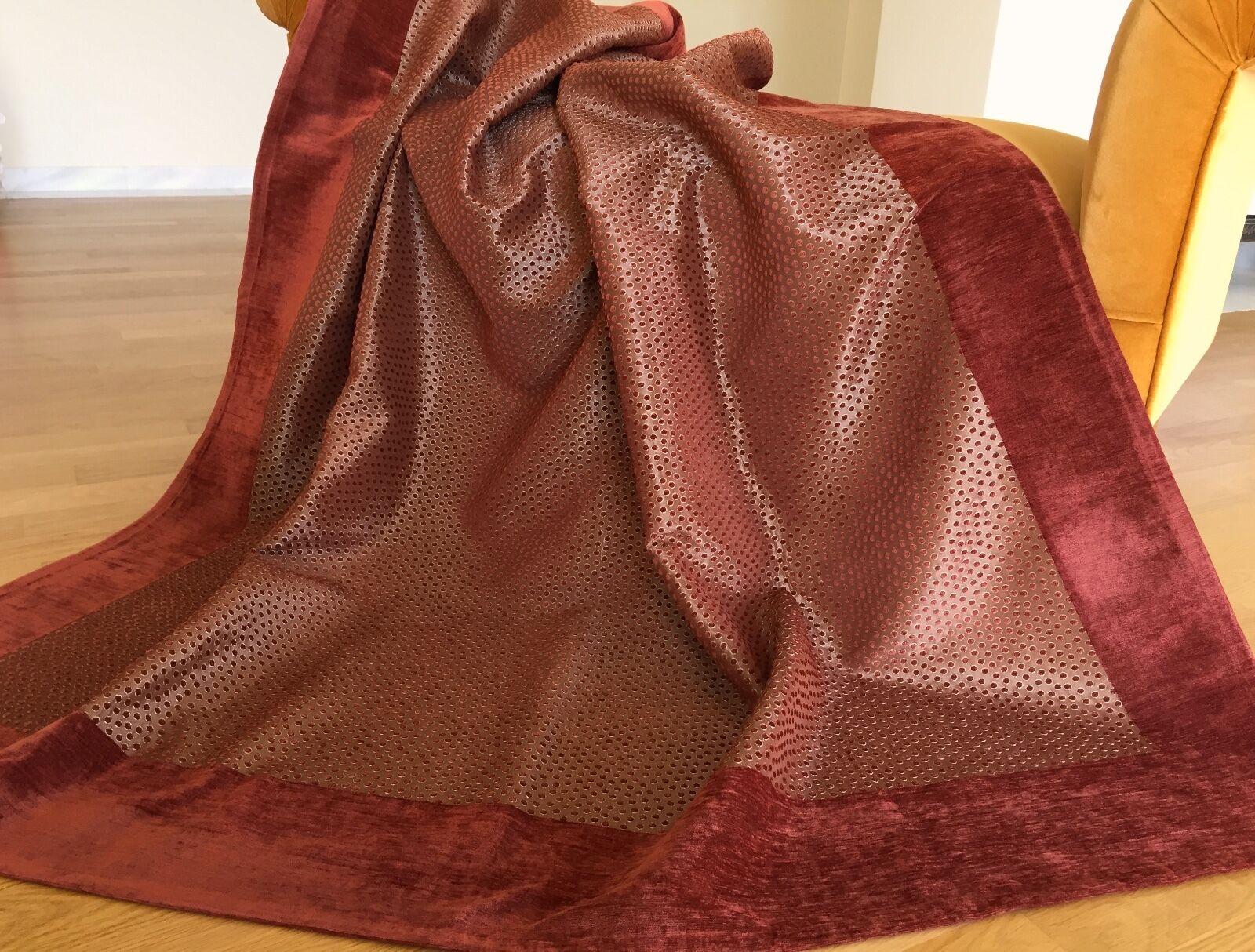 Luxurious Chenille Taffeta Throw Cover Armchair Two Seater Sofa170x180 Rust gold