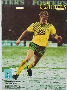 Norwich-City-v-Bristol-City-FA-Cup-3rd-Round-5-1-1991-MINT-CONDITION