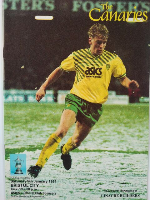 Norwich City v Bristol City FA Cup 3rd Round 5/1/1991 Mint condition