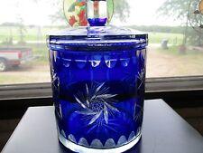 Bohemian Cobalt Cut To Clear Crystal Ice Bucket Biscuit Jar ~Nice~