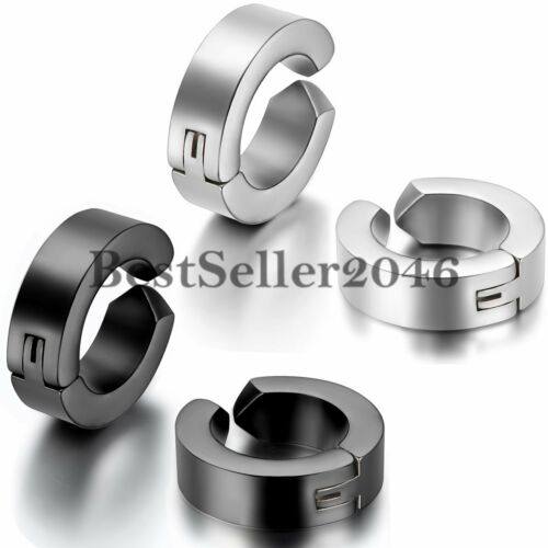 1pair Men Women Stainless Steel Non-piercing Clip on Huggie Hinged Hoop Earrings