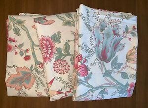 3-POTTERY-BARN-Euro-Size-Pillow-Shams-29x29-Jacobean-Floral-Beige-Pink-Green-Red