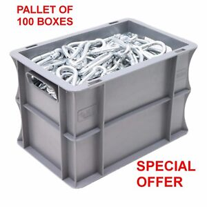 NEW 100 x 7 Litre Heavy Duty Grey Plastic Euro Storage Container