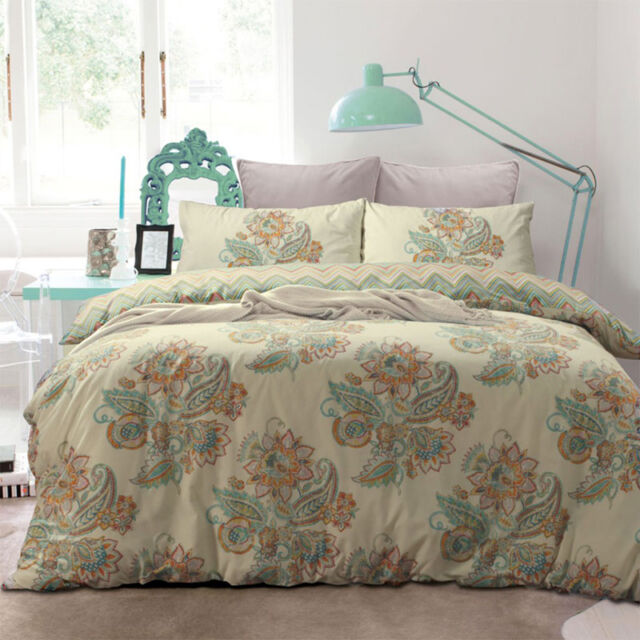 APARTMENTO Jamila Multi Paisley Single Bed Size Doona Duvet Quilt Cover Set