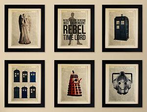 SET-OF-6-ART-PRINTS-ON-OLD-ANTIQUE-BOOK-PAGE-Dr-Who-Tardis-Dalek-Cyberman