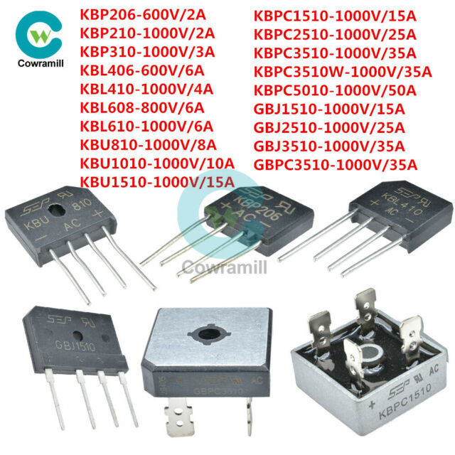 5/10PCS 2-50A KBP/GBPC Bridge Rectifier Metal Case Single Phases Diode 600-1000V
