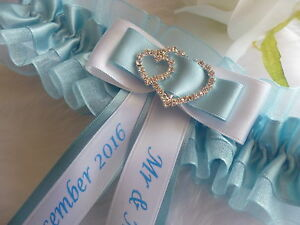 Ivory lace garter with customised ribbon Bridal Garter New married name with wedding date. Wedding Garter