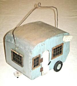 Vintage Hand Crafted Folk Art 1950's Travel Trailer Camper Bird House