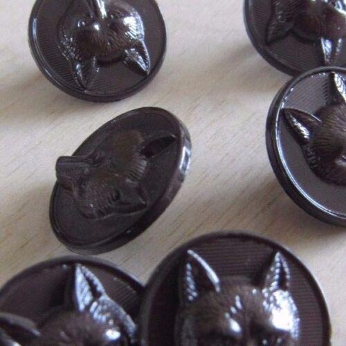 6 X cara Botones Redondos chaquetas de caza del zorro bolsas 15mm Elegir Negro Marrón o Azul marino