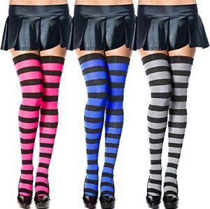 cd1c17da7 Chalier 3 Pairs Womens Long Striped Socks Over Knee Thigh High Socks ...