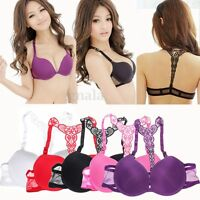 Sexy Padded Women Front Closure Ladies Lace Racer Back Push Up Bra Seamless Set