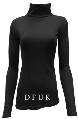 LADIES PLUS SIZES  RIBBED LONG SLEEVE  POLO ROLL NECK  TOP JUMPERS SIZE 8-28