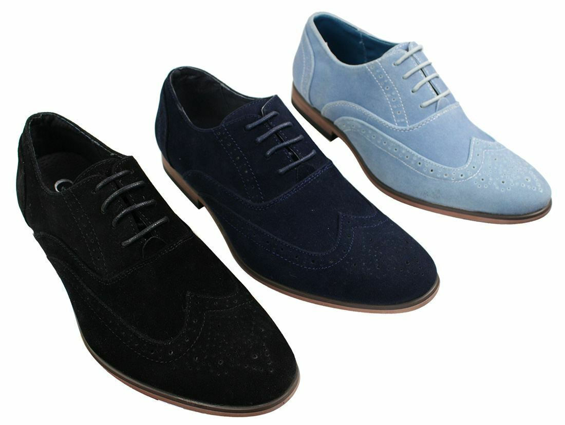 Mens Suede Leather Brogues Smart Casual Baby bluee Navy Black Laced shoes