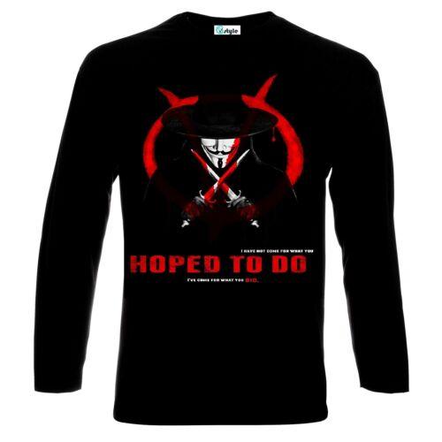 Anonymous V for Vendetta Logo Longsleeve T-Shirt All Sizes