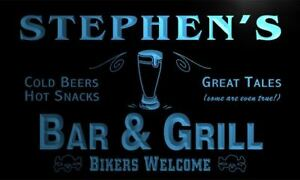x0034-tm-Stephen-039-s-Bar-amp-Grill-Bikers-Custom-Personalized-Name-Neon-Sign