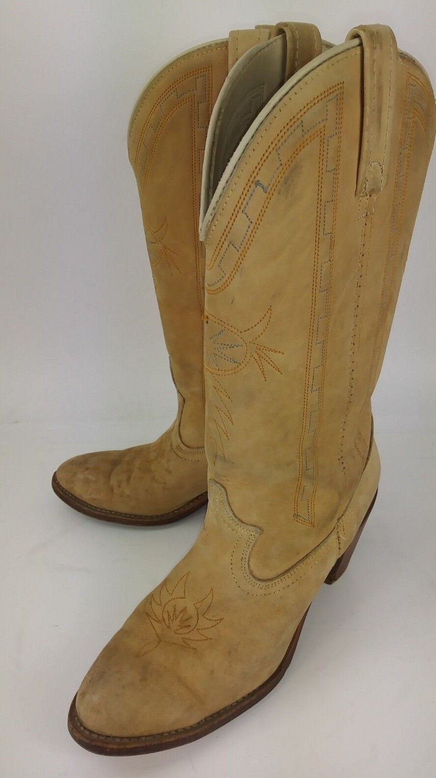 Circle A 7492 Wos Boots Boots Boots Tall US 8.5 M Tan Leather Cowboy Rockabilly 1007 6d3643