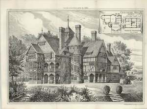 1887-Crockham-Hall-In-Kent-Exterior-View-And-Ground-Plan-Maurice-B-Adams